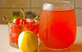 Вишня, лимонный и вишневый сок