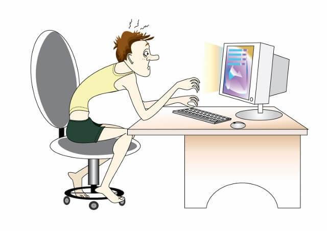 сидение за компьютером