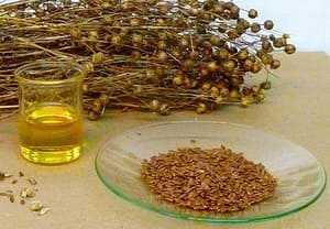 Масло льна, букет травы, семена льна на стеклянной тарелке